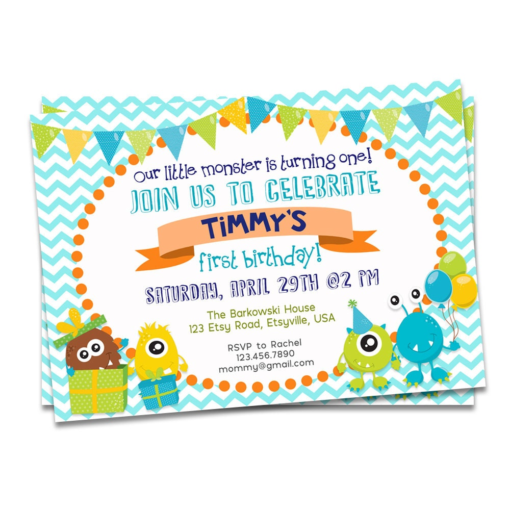 Monster Birthday Invitation Printable Monster First Birthday | Etsy