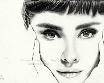 Audrey Hepburn portrait - Art print signed from an original graphite drawing