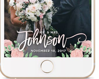 Wedding Snapchat GeoFilter, Wedding Geofilter, Floral Filter, White and Floral, Custom Snapchat Filter, Gold Glitter Filter, Reception BLUSH