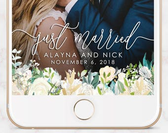 WEDDING SNAPCHAT GEOFILTER, Wedding Snapchat Filter,Floral Snapchat Filter,Custom Snapchat,Greenery Snapchat Filter,Script Snapchat Filter