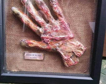 Hand of glory picture frame, weird, Creepy, horror, folklore, Steampunk, Goth, Handmade