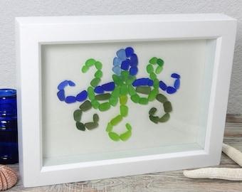 Sea Glass Octopus Framed Original Art