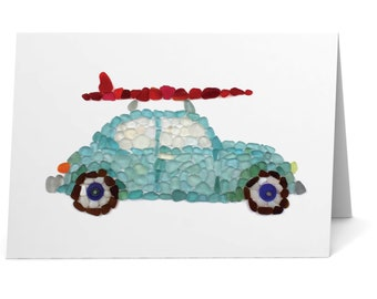 Sea Glass Surfer Car Note Card - Seaglass Mosaic Print of Classic Car with Red Surfboard on Top, Blank Inside