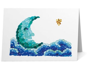 Sea Glass Moon in a Sea of Clouds Card