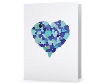 Blue Sea Glass Heart Print Note Card - Seaglass Art Mosaic Heart Print, Blank Inside, Great for Wedding, Anniversary, Valentine's Day