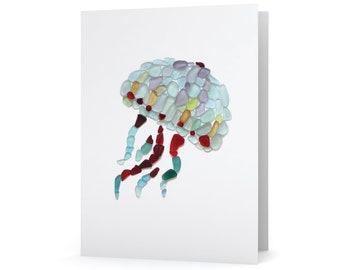 Sea Glass Jellyfish Note Card - Seaglass Jelly Fish Mosaic Print, Blank Inside
