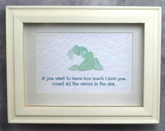 Sea Glass Wave Shadow Box Art - Glass Front Wood Shadowbox made with Real Seaglass - Great for Valentine's Day or any day!