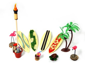 Beach Dreams Tropical Accessories - Miniature Chair, Tiki Torch, Tropical Drink, Flamingo, Turtle, Palm Tree, Surfboard - FREE SHIPPING