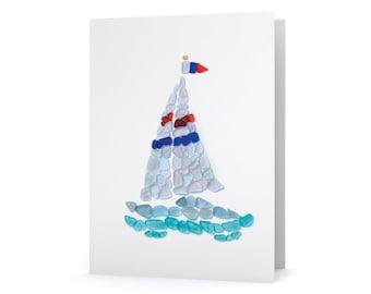 Sea Glass Sailboat Card