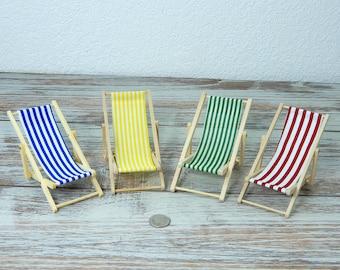 Beach Dreams Miniature Folding Beach Chair, Wood & Cloth Deck Lounger - Mini Beach, Dollhouse, Fairy Garden 1:12 - FREE SHIPPING