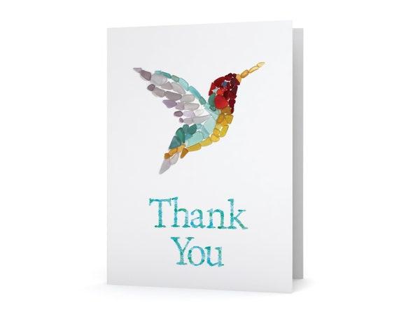 Sea Glass Hummingbird Thank You Card