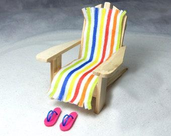 Beach Dreams Basics Accessories - Miniature Adirondack Chair, Miniature Towel, and Tiny Flip Flops - FREE SHIPPING