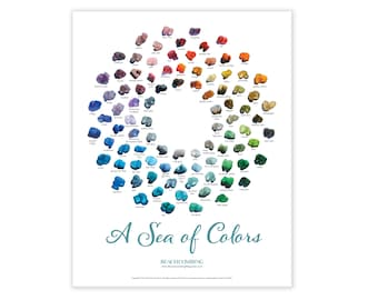 A Sea of Colors Poster - Color Chart of Sea and Beach Glass