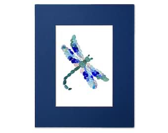 Sea Glass Dragonfly - Seaglass Art Mosaic Matted Print
