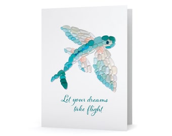 """Sea Glass Flying Fish """"Let your dreams take flight"""" Note Card - Seaglass Art Mosaic Flying Fish Print, Blank Inside"""