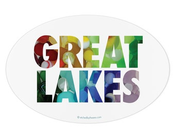 Great Lakes Beach Glass Sticker - Oval bumper sticker with letters made from beach glass and beach marbles