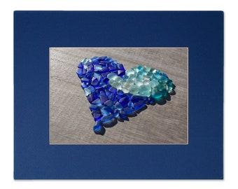 Blue Sea Glass Wave Heart Matted Photo Print - Seaglass Mosaic Print, Multiple Sizes