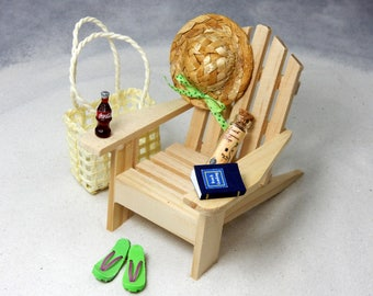 Beach Dreams Beachcomber Kit - Miniature Adirondack Chair, Treasure Map, Hat, Bag, Flip Flops, Coke, Book - Tabletop Scene