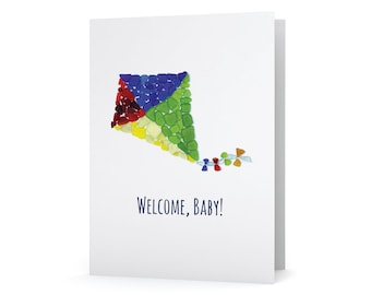 "Sea Glass Kite ""Welcome, baby!"" New Baby Card - Seaglass Art Mosaic Print, Blank Inside"