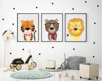 Superbe Lion, Tiger, Bear, Nursery Art, Baby, Kids Wall Art, Kids Bedroom, Cute  Characters, Set Of 3, Contemporary Art, Illustration, Scandinavian