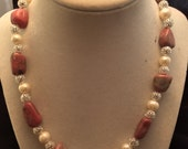 Sterling Silver Rhodonite and Cultured Freshwater Pearl Handmade Necklace, Ladies Pink Stone and Pearl Necklace