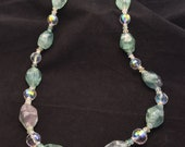 Sterling Silver Large Fluorite Nuggets Crystal And Quartz Stone Beaded Necklace, Ladies Fluorite and Crystal Necklace