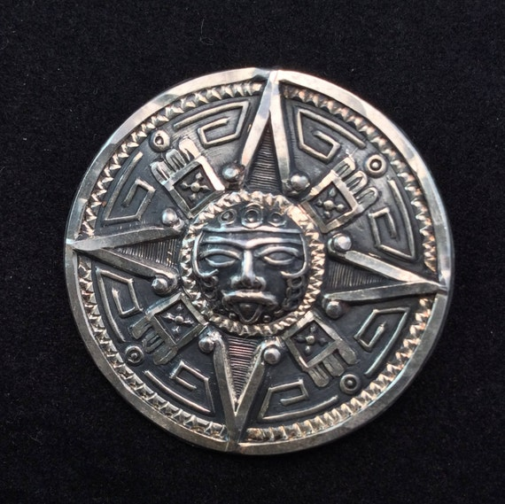Mexico 925 Sterling Silver Etched Pendant Brooch Aztec Sun God Etsy