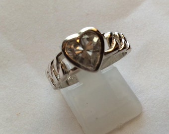 Sterling silver MARSALA heart shaped CZ engagement wedding ring, ladies engagement ring