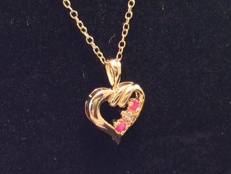 8515a29cefb98 Sterling silver prong set Ruby And Diamond Accent Heart Necklace, Ladies  Diamond and Ruby Necklace