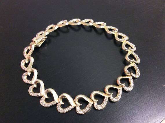 Sterling Silver Diamond Accent Heart Bracelet Heart Tennis