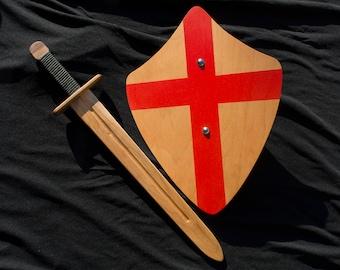 Knights Toy Sword & Shield - Handmade Wooden Sword