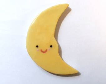 moon/ moon magnet/porcelain moon/porcelain magnet/smiling moon/refrigerator magnet/moon with smile/magnet with smile/unique magnet/gift