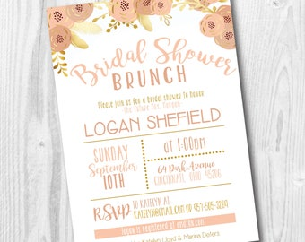 bridal shower brunch invitation gold and blush wedding shower