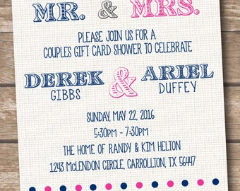 Couples Wedding Shower Bridal Shower Invitation - Gift Card Shower - Printed and Printable