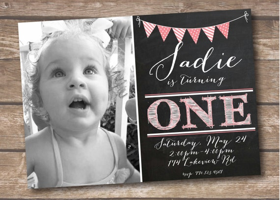 First Birthday Party Invitation One Year Old Printed