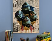 "Teenage Mutant Ninja Turtles - Original 22"" x 28"" Oil Painting"