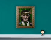 """Glorious Purpose - 12"""" x 16"""" Original Oil Painting of Loki - GOLD FRAME INCLUDED"""