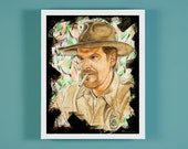 "Jim Hopper - 11"" x 14"" Mixed Media Illustration * Frame not included *"