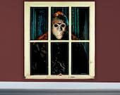 """Jason Voorhees 30"""" x 33"""" Original oil painting on old window"""