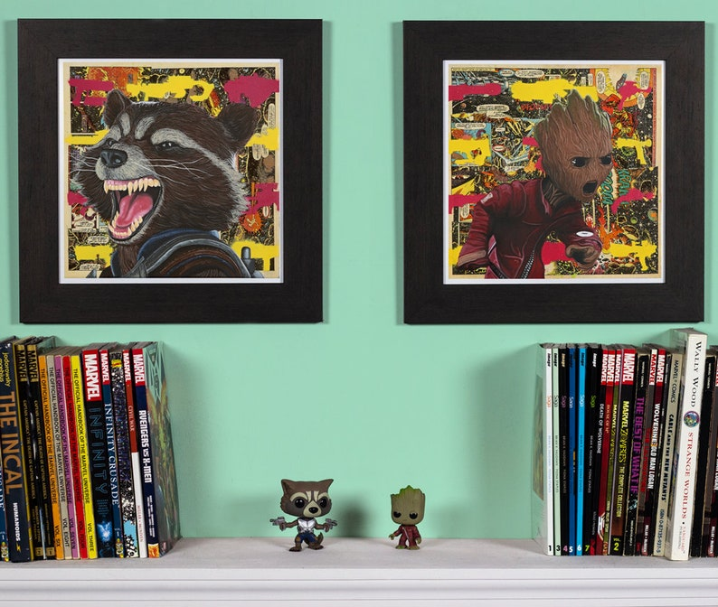 Guardians  Rocket Racoon & Baby Groot High Quality Print Set image 0