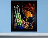 Wolverine vs Hulk - Original Tribute Oil Painting to Incredible Hulk #340 - FRAME INCLUDED