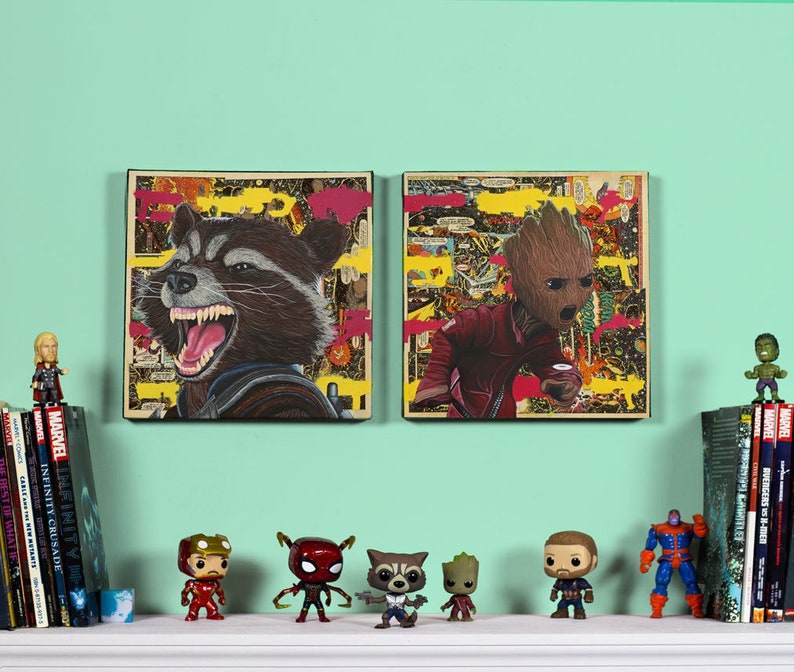 Rocket Raccoon & Baby Groot Original oil paintingt set image 0