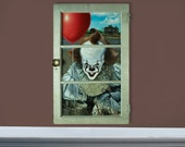 """Pennywise - 20"""" x 32"""" Horror Window Original Oil Painting"""