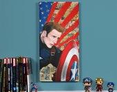 "Civil War - Captain America  - 12"" x 24"" Original oil painting"