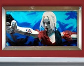 """Harley - 38"""" x 19"""" Original Oil Painting on Masonite - Distressed gold & silver FRAME INCLUDED"""