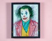 """Joker - 11"""" x 14"""" Mixed media illustration - FRAME INCLUDED"""