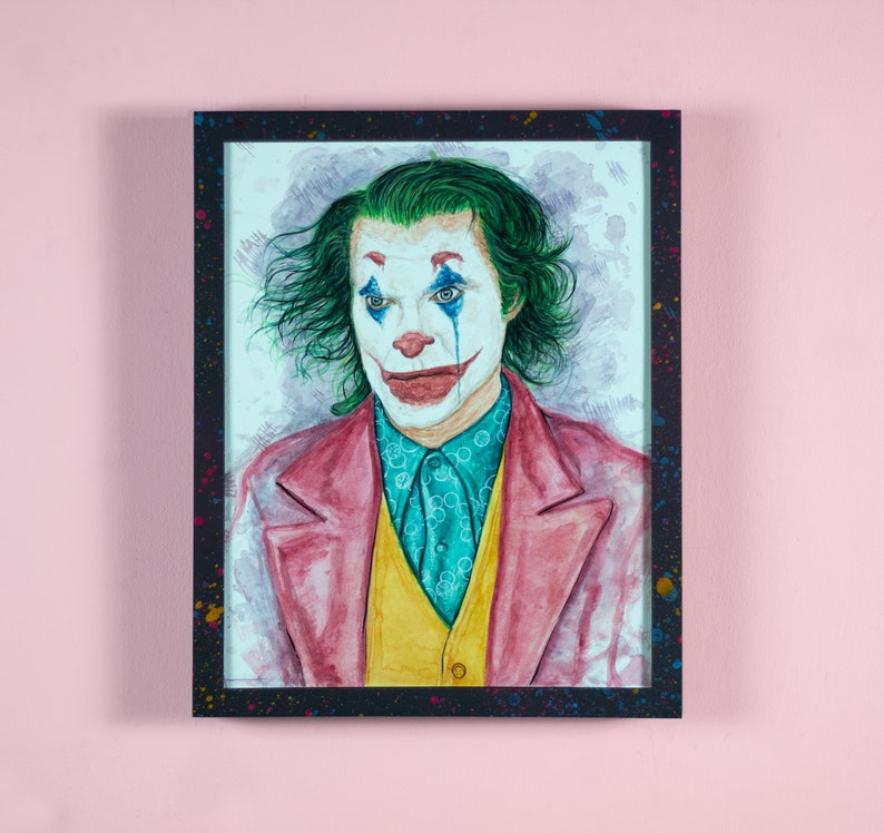 Joker  11 x 14 Mixed media illustration  FRAME image 0