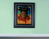 """12"""" X 16"""" Original Oil painting of Jean-Michel Basquiat- FRAME NOT INCLUDED"""