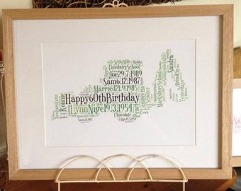 A4 Personalised Word Art Digger/JCB Print (UK ONLY)/Download