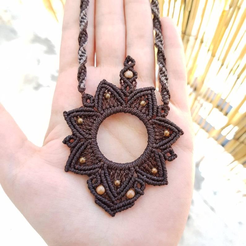 hippie ethnic tribe tribal Macrame mandala Flower necklace with brass beadsspiritual Nomad Gypsy boho